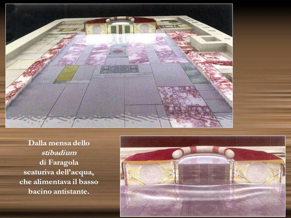 Dalla mensa dello stibadium di Faragola scaturiva dellacqua, che alimentava il basso bacino antistante.