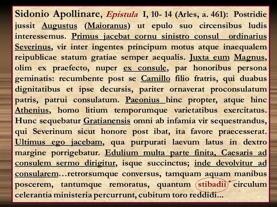 Sidonio Apollinare, Epistula I, 10- 14 (Arles, a. 461): Postridie jussit Augustus (Maioranus) ut epulo suo circensibus ludis interessemus. Primus jace