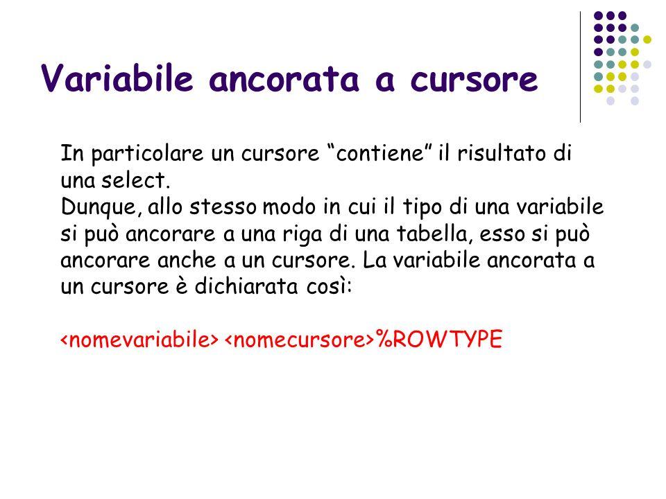 Variabile ancorata a cursore In particolare un cursore contiene il risultato di una select. Dunque, allo stesso modo in cui il tipo di una variabile s