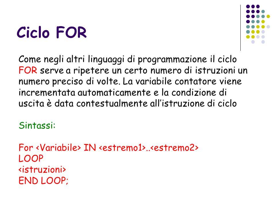 Ciclo FOR Come negli altri linguaggi di programmazione il ciclo FOR serve a ripetere un certo numero di istruzioni un numero preciso di volte. La vari
