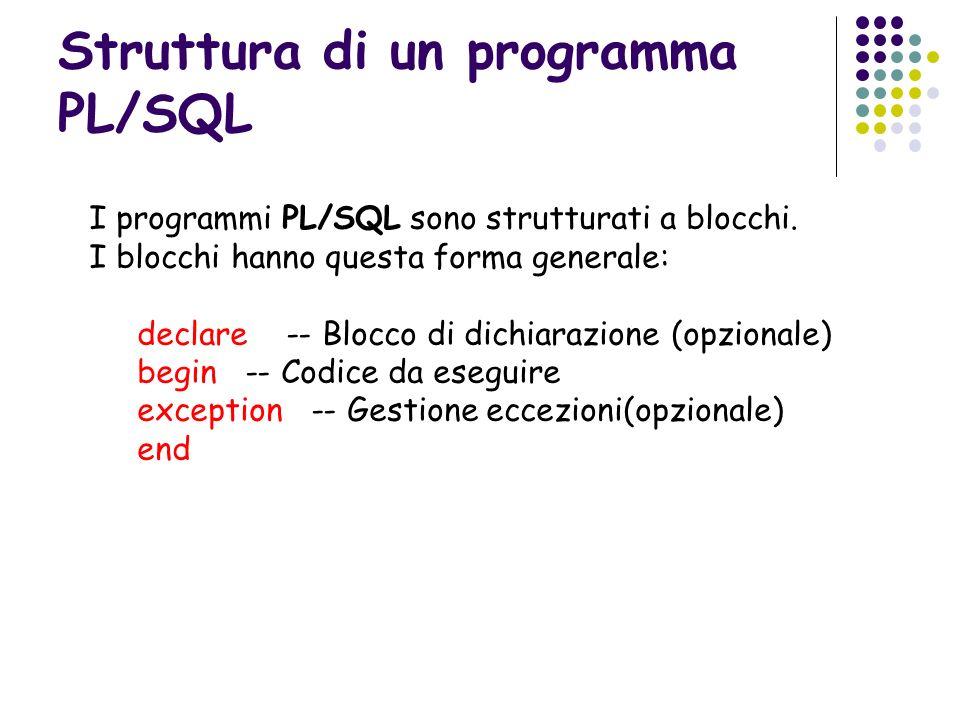 Struttura di un programma PL/SQL I programmi PL/SQL sono strutturati a blocchi. I blocchi hanno questa forma generale: declare -- Blocco di dichiarazi