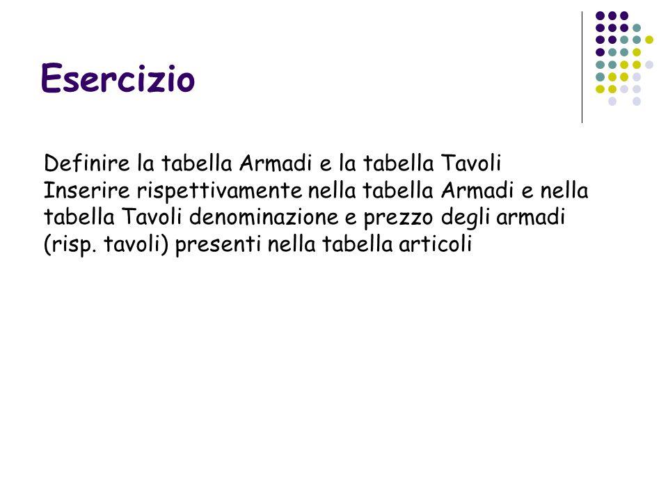 Esercizio Definire la tabella Armadi e la tabella Tavoli Inserire rispettivamente nella tabella Armadi e nella tabella Tavoli denominazione e prezzo d