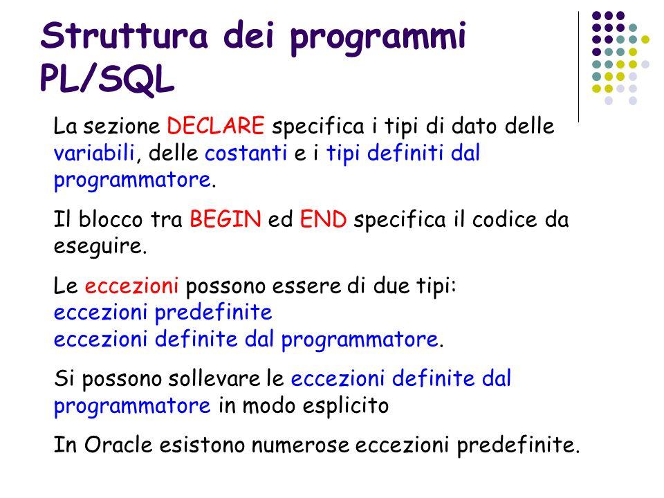 Struttura dei programmi PL/SQL La sezione DECLARE specifica i tipi di dato delle variabili, delle costanti e i tipi definiti dal programmatore. Il blo