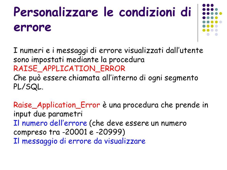 Personalizzare le condizioni di errore I numeri e i messaggi di errore visualizzati dallutente sono impostati mediante la procedura RAISE_APPLICATION_