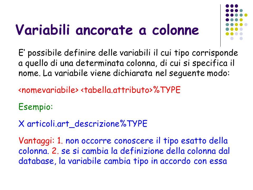 Variabili ancorate a colonne E possibile definire delle variabili il cui tipo corrisponde a quello di una determinata colonna, di cui si specifica il