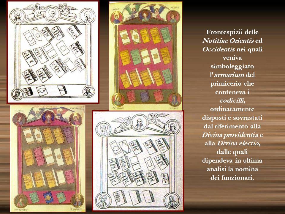 Frontespizii delle Notitiae Orientis ed Occidentis nei quali veniva simboleggiato l'armarium del primicerio che conteneva i codicilli, ordinatamente d
