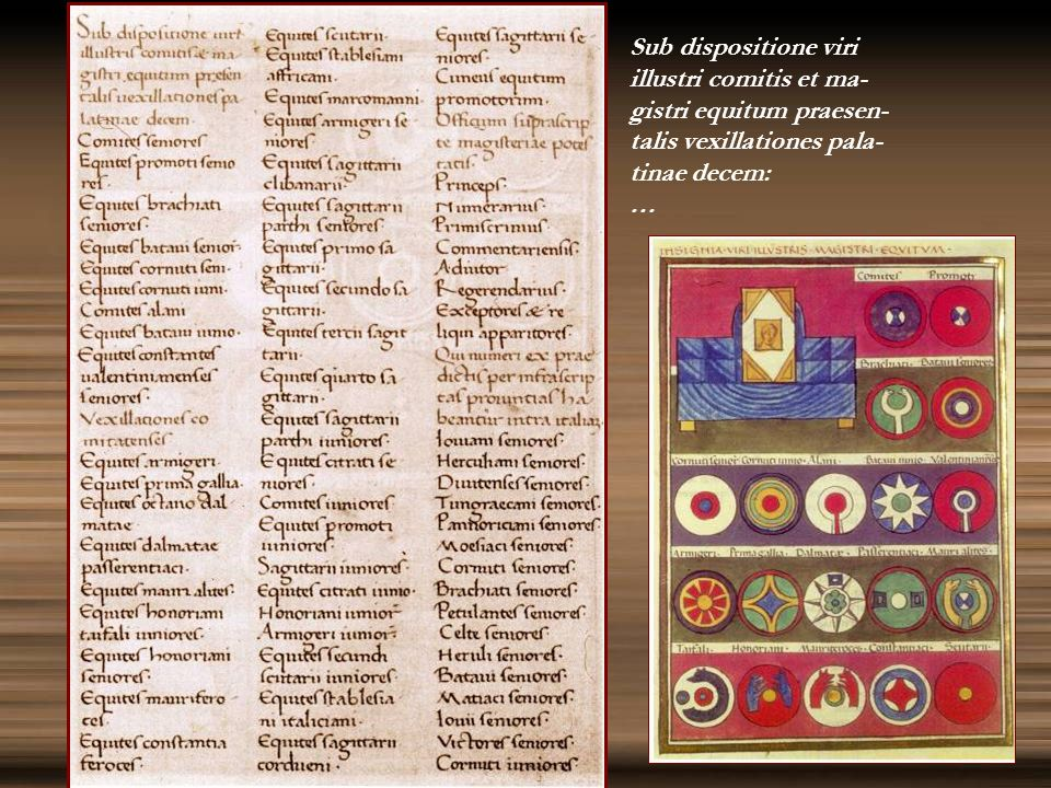 Sub dispositione viri illustri comitis et ma- gistri equitum praesen- talis vexillationes pala- tinae decem: …