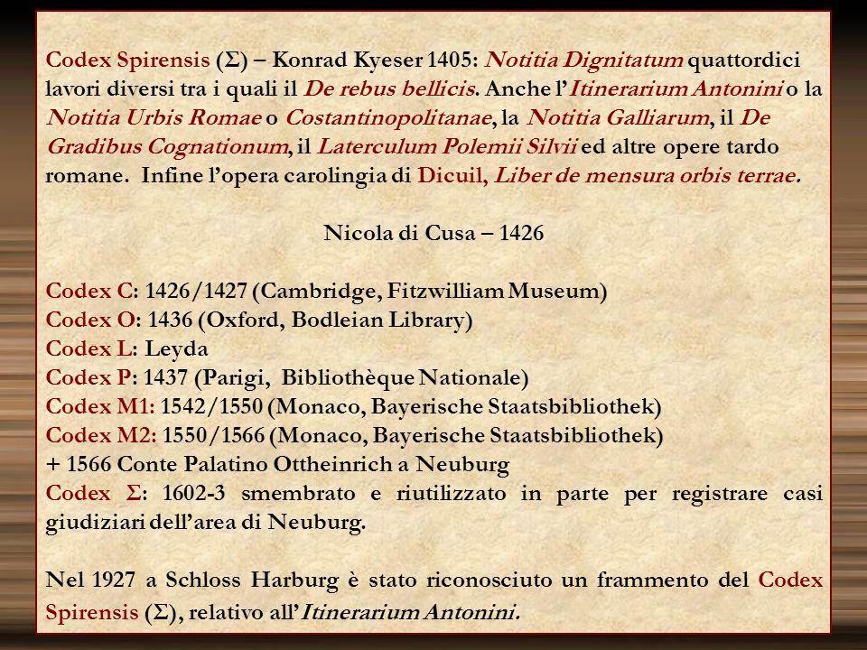 Codex Spirensis (Σ) – Konrad Kyeser 1405: Notitia Dignitatum quattordici lavori diversi tra i quali il De rebus bellicis. Anche lItinerarium Antonini