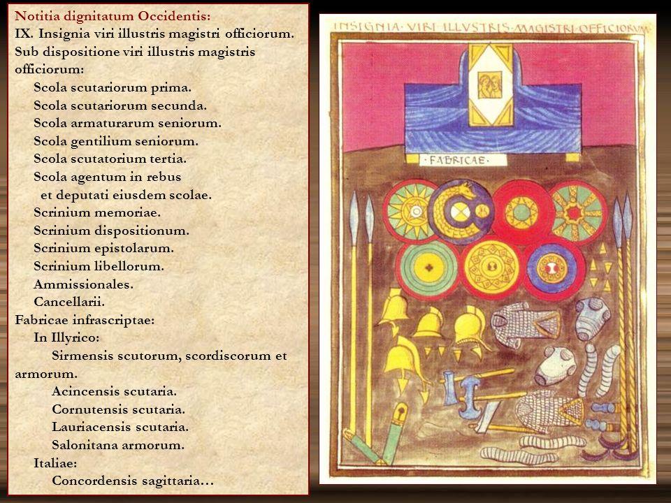Notitia dignitatum Occidentis: IX. Insignia viri illustris magistri officiorum. Sub dispositione viri illustris magistris officiorum: Scola scutarioru