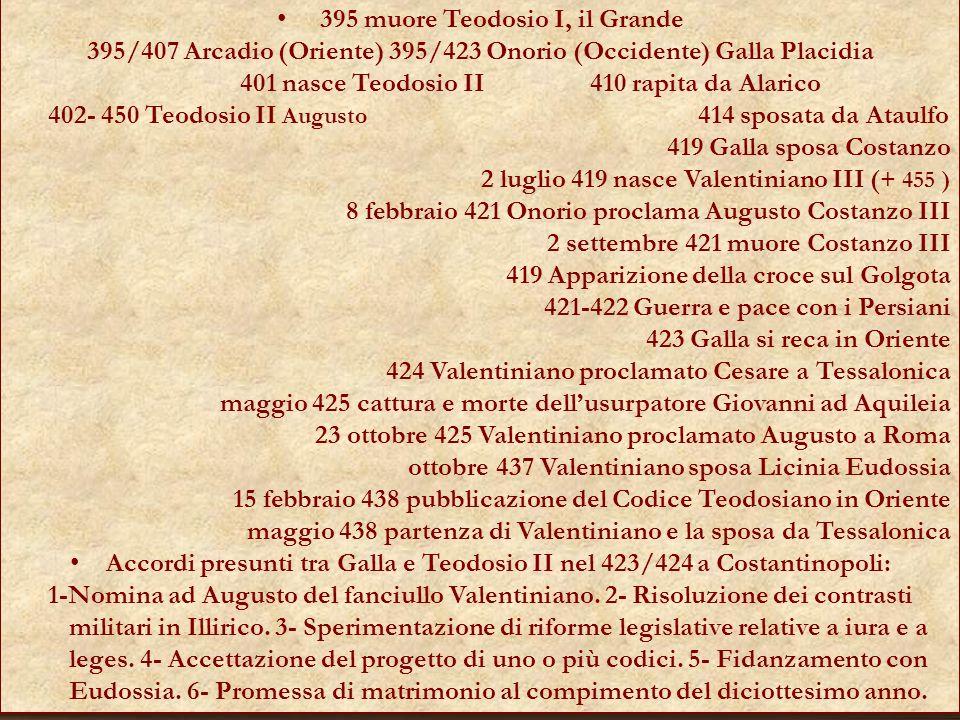 395 muore Teodosio I, il Grande 395/407 Arcadio (Oriente) 395/423 Onorio (Occidente) Galla Placidia 401 nasce Teodosio II 410 rapita da Alarico 402- 4