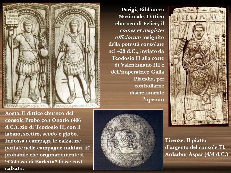 Parigi, Biblioteca Nazionale. Dittico eburneo di Felice, il comes et magister officiorum insignito della potestà consolare nel 428 d.C., inviato da Te