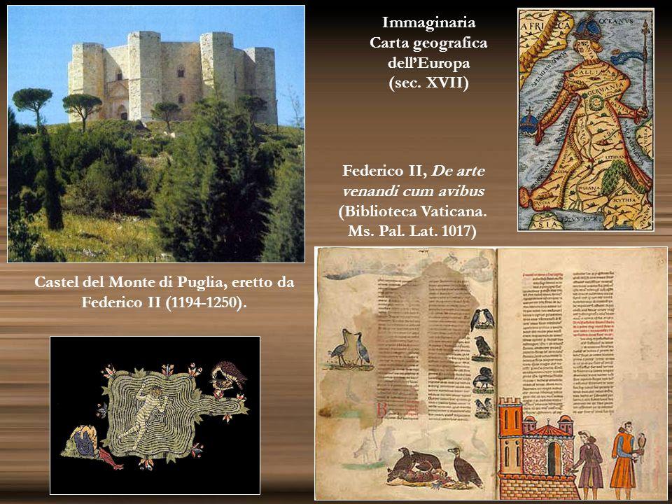 Castel del Monte di Puglia, eretto da Federico II (1194-1250). Federico II, De arte venandi cum avibus (Biblioteca Vaticana. Ms. Pal. Lat. 1017) Immag