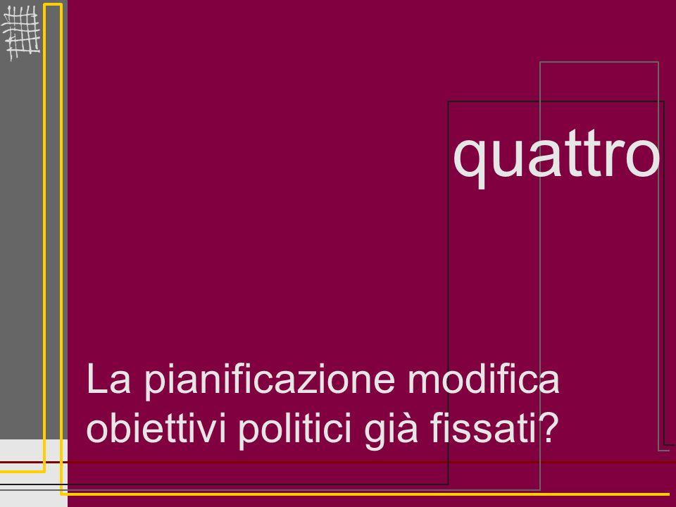 La pianificazione modifica obiettivi politici già fissati? quattro