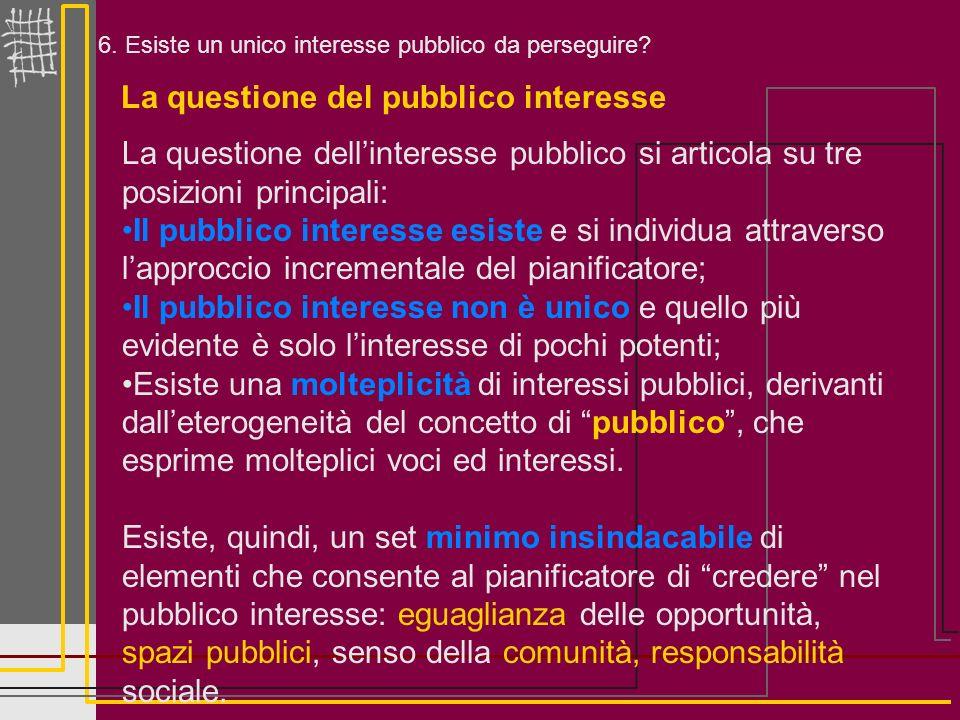 6. Esiste un unico interesse pubblico da perseguire? La questione del pubblico interesse La questione dellinteresse pubblico si articola su tre posizi