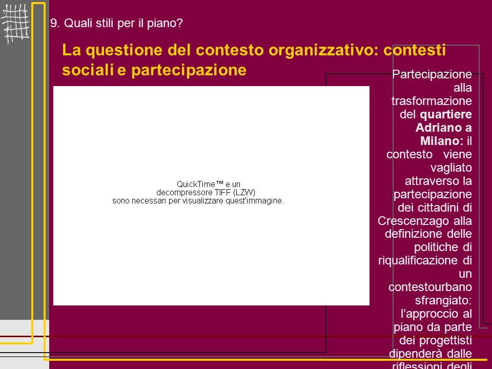 9. Quali stili per il piano? La questione del contesto organizzativo: contesti sociali e partecipazione Partecipazione alla trasformazione del quartie