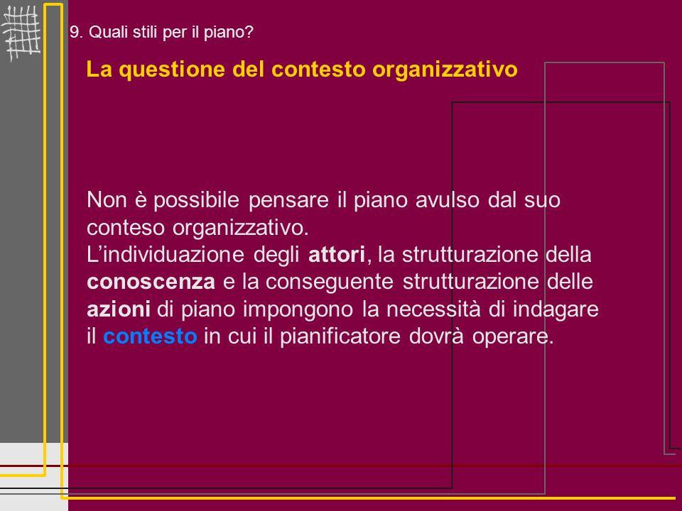 9. Quali stili per il piano? La questione del contesto organizzativo Non è possibile pensare il piano avulso dal suo conteso organizzativo. Lindividua