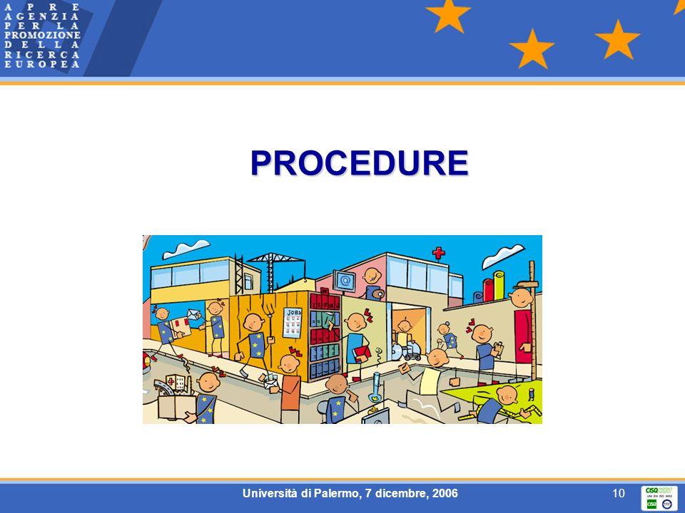 Università di Palermo, 7 dicembre, 200610 PROCEDURE