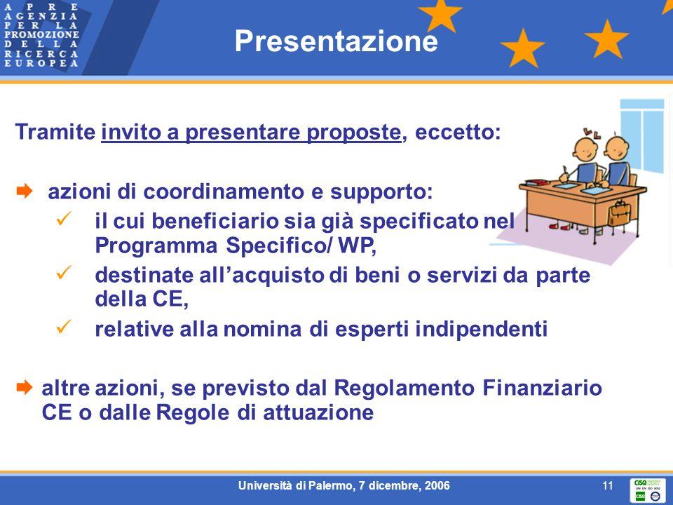Università di Palermo, 7 dicembre, 200611 Presentazione Tramite invito a presentare proposte, eccetto: azioni di coordinamento e supporto: il cui beneficiario sia già specificato nel Programma Specifico/ WP, destinate allacquisto di beni o servizi da parte della CE, relative alla nomina di esperti indipendenti altre azioni, se previsto dal Regolamento Finanziario CE o dalle Regole di attuazione