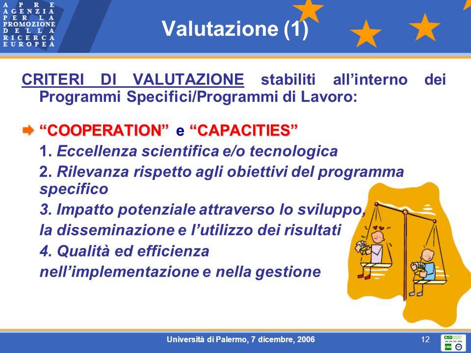Università di Palermo, 7 dicembre, 200612 Valutazione (1) CRITERI DI VALUTAZIONE stabiliti allinterno dei Programmi Specifici/Programmi di Lavoro: COO