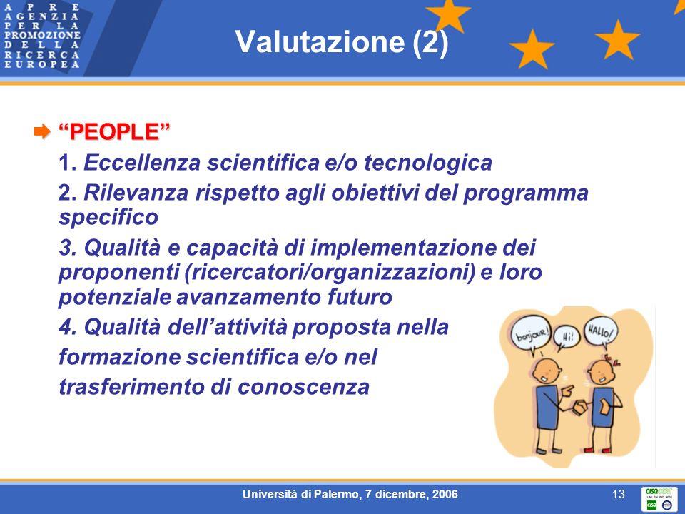 Università di Palermo, 7 dicembre, 200613 Valutazione (2) PEOPLE PEOPLE 1. Eccellenza scientifica e/o tecnologica 2. Rilevanza rispetto agli obiettivi