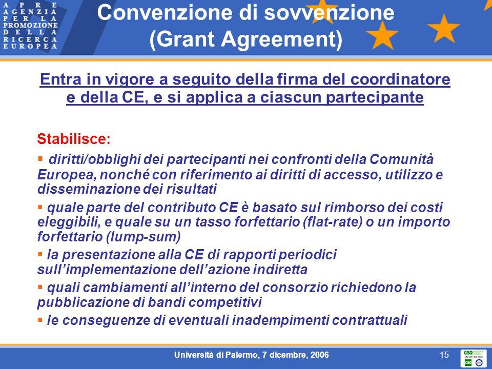 Università di Palermo, 7 dicembre, 200615 Convenzione di sovvenzione (Grant Agreement) Entra in vigore a seguito della firma del coordinatore e della