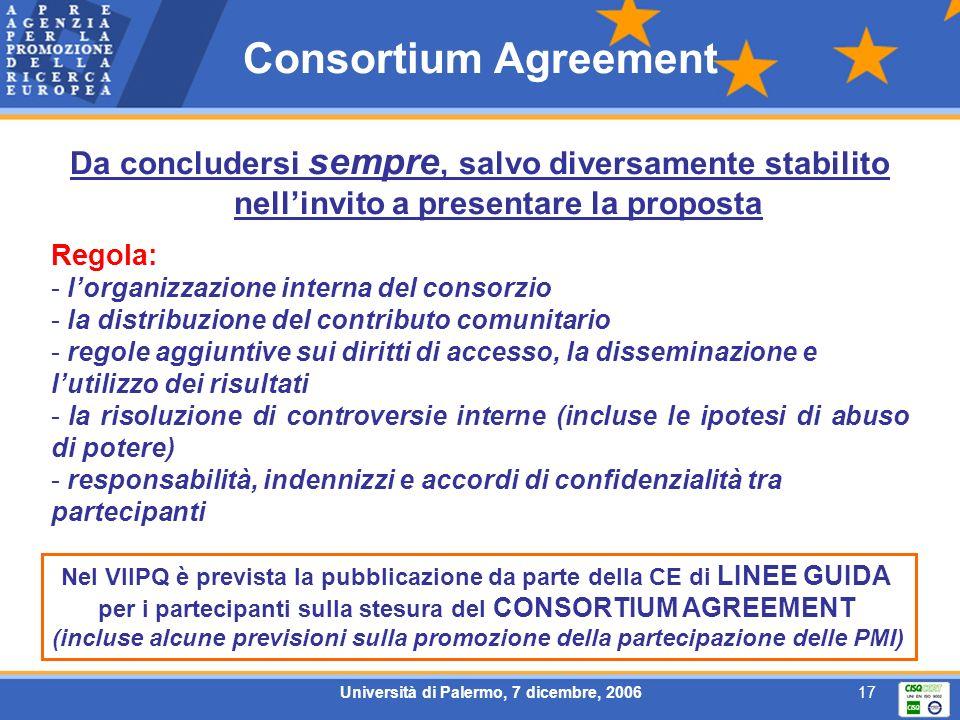 Università di Palermo, 7 dicembre, 200617 Consortium Agreement Da concludersi sempre, salvo diversamente stabilito nellinvito a presentare la proposta