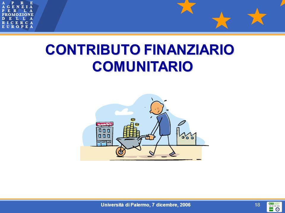 Università di Palermo, 7 dicembre, 200618 CONTRIBUTO FINANZIARIO COMUNITARIO