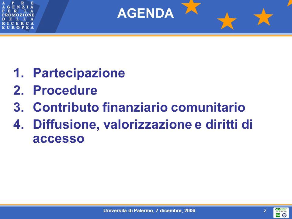 Università di Palermo, 7 dicembre, 20062 AGENDA 1.Partecipazione 2.Procedure 3.Contributo finanziario comunitario 4.Diffusione, valorizzazione e dirit