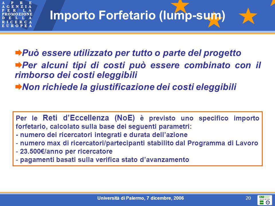 Università di Palermo, 7 dicembre, 200620 Importo Forfetario (lump-sum) Può essere utilizzato per tutto o parte del progetto Per alcuni tipi di costi