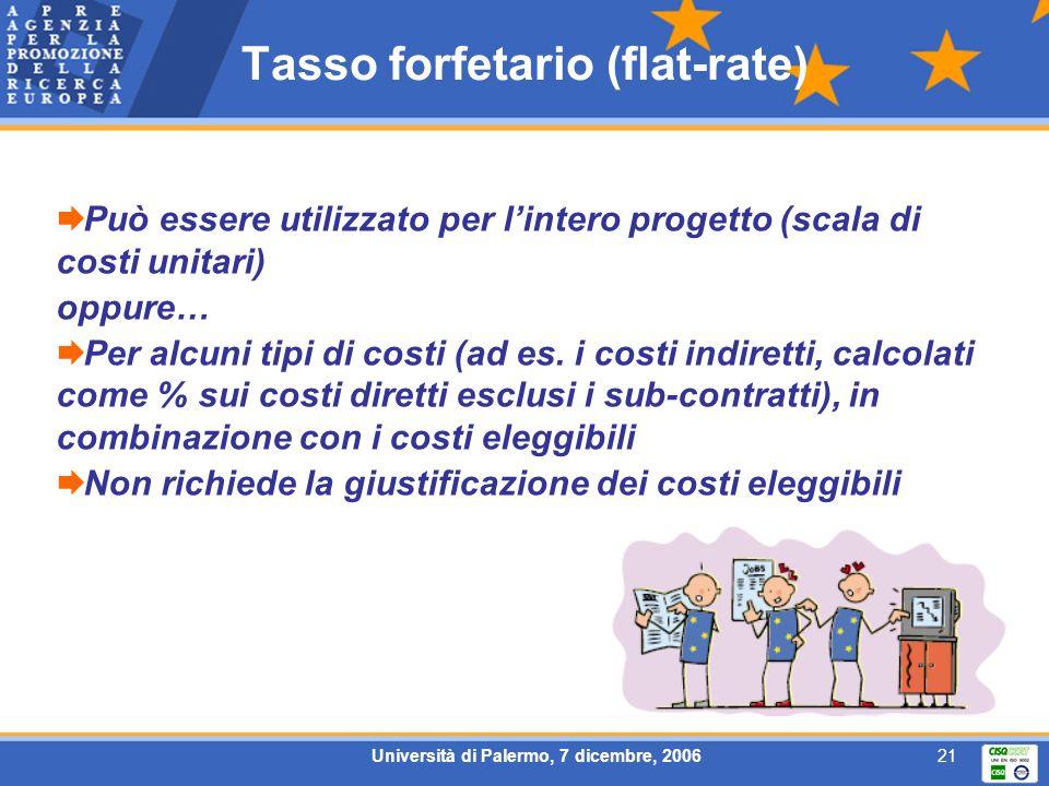 Università di Palermo, 7 dicembre, 200621 Tasso forfetario (flat-rate) Può essere utilizzato per lintero progetto (scala di costi unitari) oppure… Per alcuni tipi di costi (ad es.