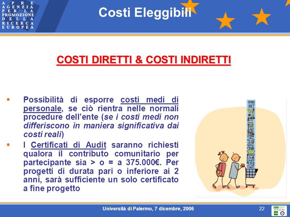 Università di Palermo, 7 dicembre, 200622 Costi Eleggibili Possibilità di esporre costi medi di personale, se ciò rientra nelle normali procedure dell