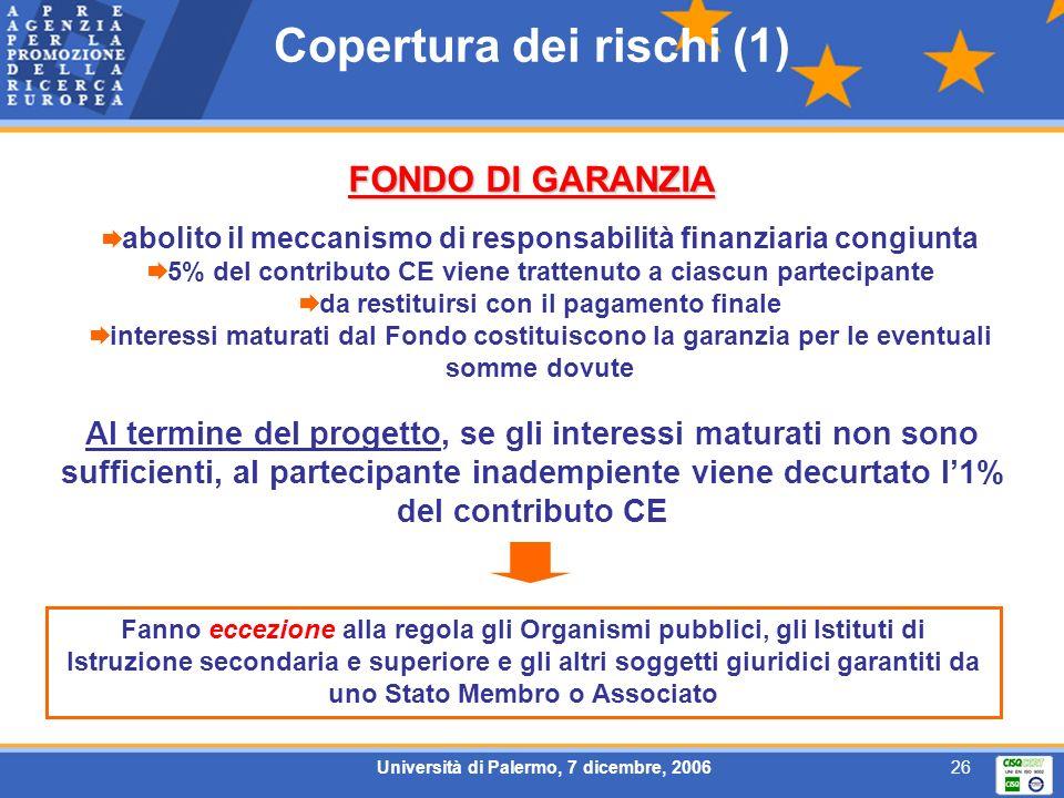 Università di Palermo, 7 dicembre, 200626 Copertura dei rischi (1) FONDO DI GARANZIA abolito il meccanismo di responsabilità finanziaria congiunta 5%
