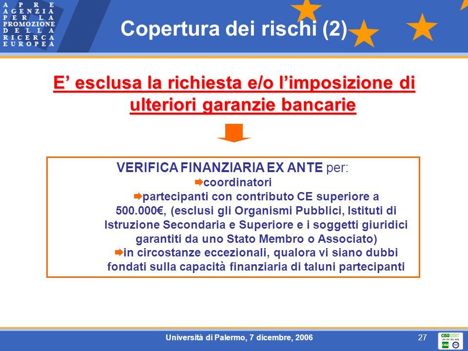 Università di Palermo, 7 dicembre, 200627 Copertura dei rischi (2) E esclusa la richiesta e/o limposizione di ulteriori garanzie bancarie VERIFICA FIN