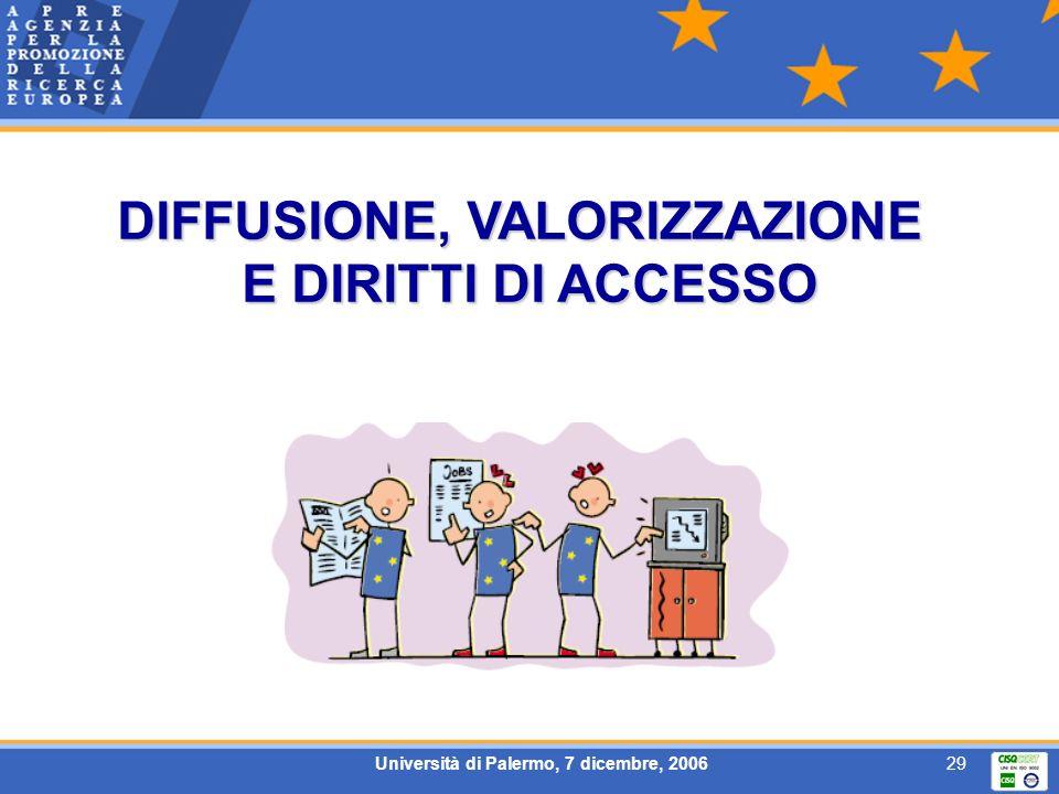 Università di Palermo, 7 dicembre, 200629 DIFFUSIONE, VALORIZZAZIONE E DIRITTI DI ACCESSO
