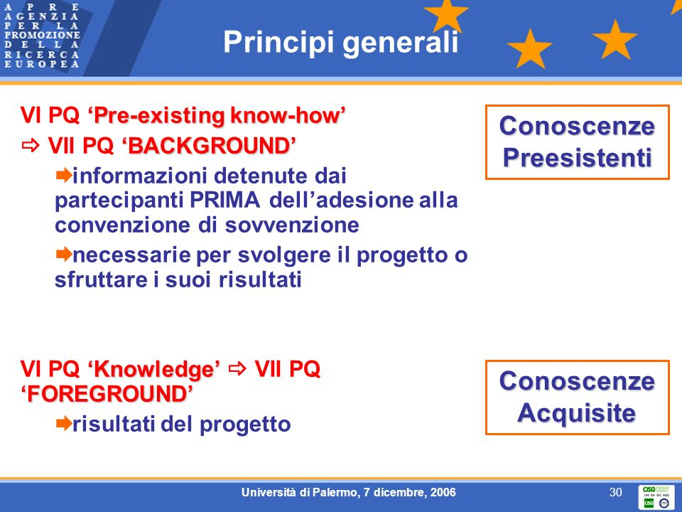 Università di Palermo, 7 dicembre, 200630 Principi generali Pre-existing know-how VI PQ Pre-existing know-how BACKGROUND VII PQ BACKGROUND informazion