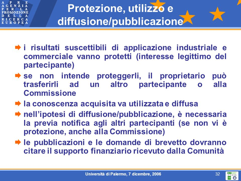 Università di Palermo, 7 dicembre, 200632 Protezione, utilizzo e diffusione/pubblicazione i risultati suscettibili di applicazione industriale e comme