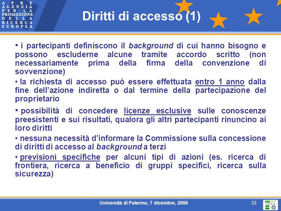 Università di Palermo, 7 dicembre, 200633 Diritti di accesso (1) i partecipanti definiscono il background di cui hanno bisogno e possono escluderne al