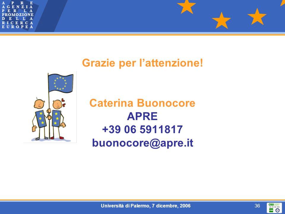 Università di Palermo, 7 dicembre, 200636 Grazie per lattenzione! Caterina Buonocore APRE +39 06 5911817 buonocore@apre.it