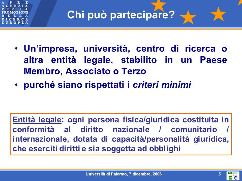 5 Chi può partecipare? Unimpresa, università, centro di ricerca o altra entità legale, stabilito in un Paese Membro, Associato o Terzo purché siano ri