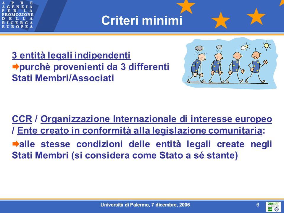 Università di Palermo, 7 dicembre, 20066 Criteri minimi 3 entità legali indipendenti purchè provenienti da 3 differenti Stati Membri/Associati CCR / O