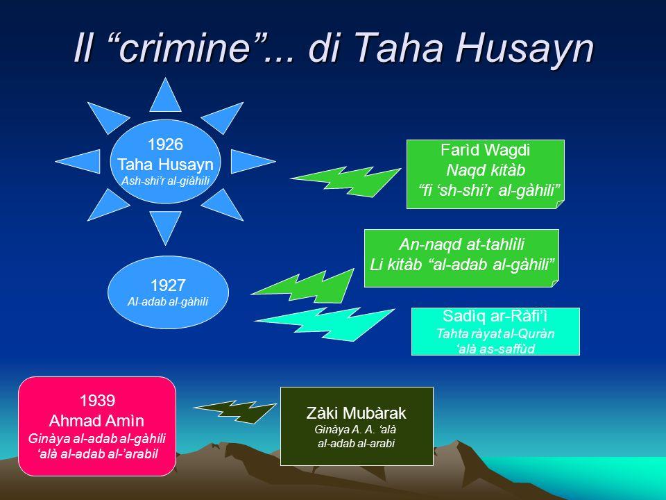 Il crimine... di Taha Husayn 1926 Taha Husayn Ash-shir al-giàhili Farìd Wagdi Naqd kitàb fi sh-shir al-gàhili 1927 Al-adab al-gàhili An-naqd at-tahlìl
