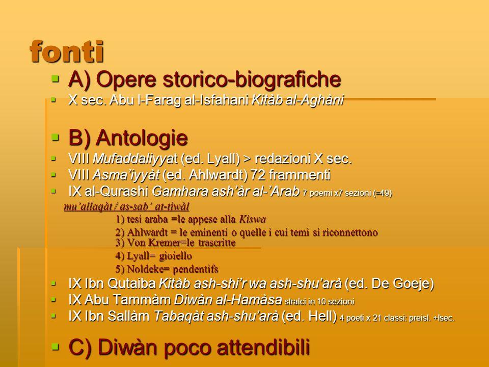 fonti A) Opere storico-biografiche A) Opere storico-biografiche X sec. Abu l-Farag al-Isfahani Kitàb al-Aghàni X sec. Abu l-Farag al-Isfahani Kitàb al