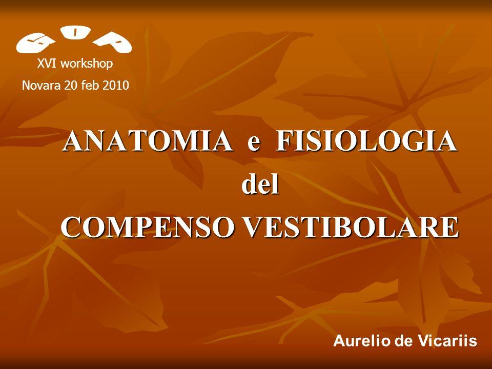ANATOMIA e FISIOLOGIA del COMPENSO VESTIBOLARE Aurelio de Vicariis XVI workshop Novara 20 feb 2010
