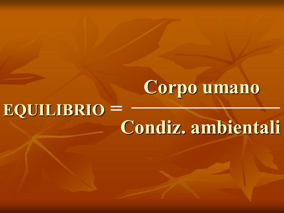 EQUILIBRIO EQUILIBRIO = _________________ Corpo umano Corpo umano Condiz. ambientali
