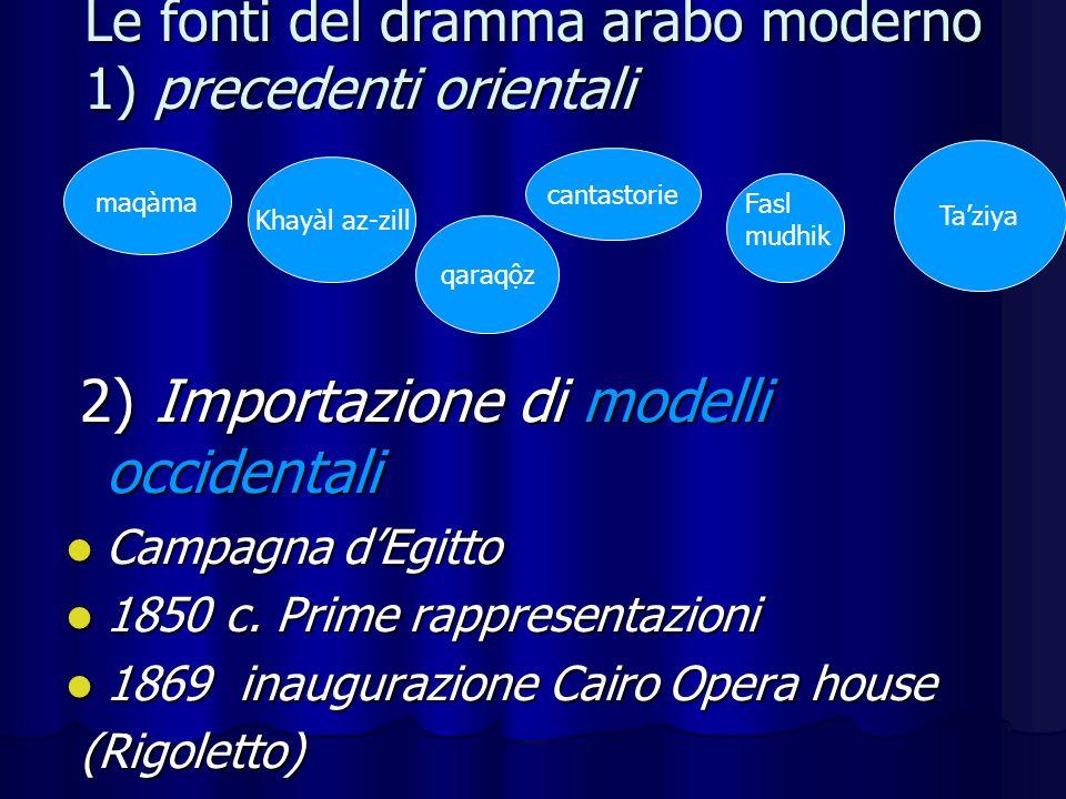 Le fonti del dramma arabo moderno 1) precedenti orientali 2) Importazione di modelli occidentali 2) Importazione di modelli occidentali Campagna dEgitto Campagna dEgitto 1850 c.
