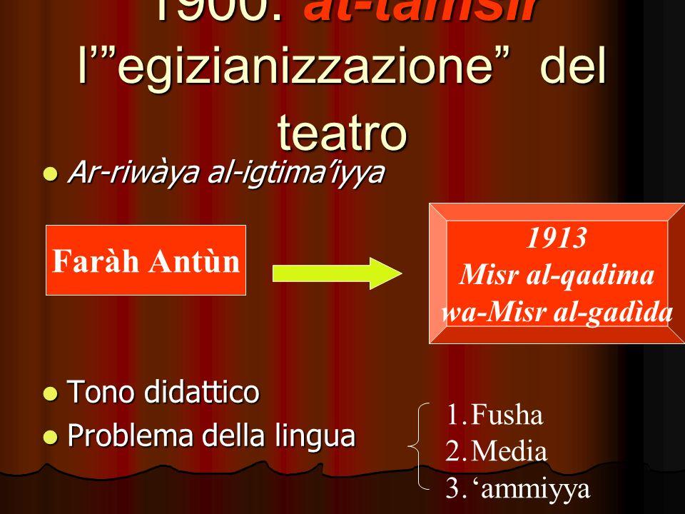 1900: at-tamsìr legizianizzazione del teatro Ar-riwàya al-igtimaiyya Ar-riwàya al-igtimaiyya Tono didattico Tono didattico Problema della lingua Problema della lingua Faràh Antùn 1913 Misr al-qadima wa-Misr al-gadìda 1.Fusha 2.Media 3.ammiyya