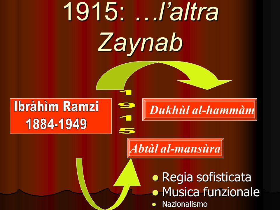 1915: …laltra Zaynab Regia sofisticata Regia sofisticata Musica funzionale Musica funzionale Nazionalismo Nazionalismo Abtàl al-mansùra Dukhùl al-hammàm