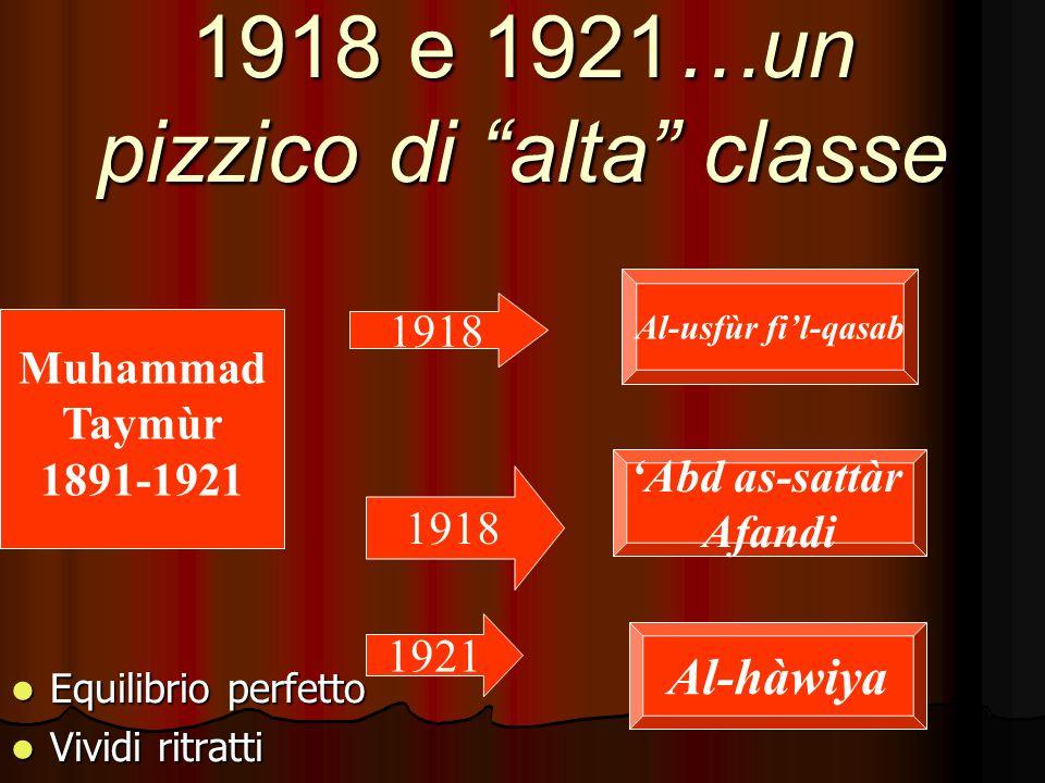 1918 e 1921…un pizzico di alta classe Equilibrio perfetto Equilibrio perfetto Vividi ritratti Vividi ritratti Muhammad Taymùr 1891-1921 1918 1921 Al-usfùr fil-qasab Abd as-sattàr Afandi Al-hàwiya