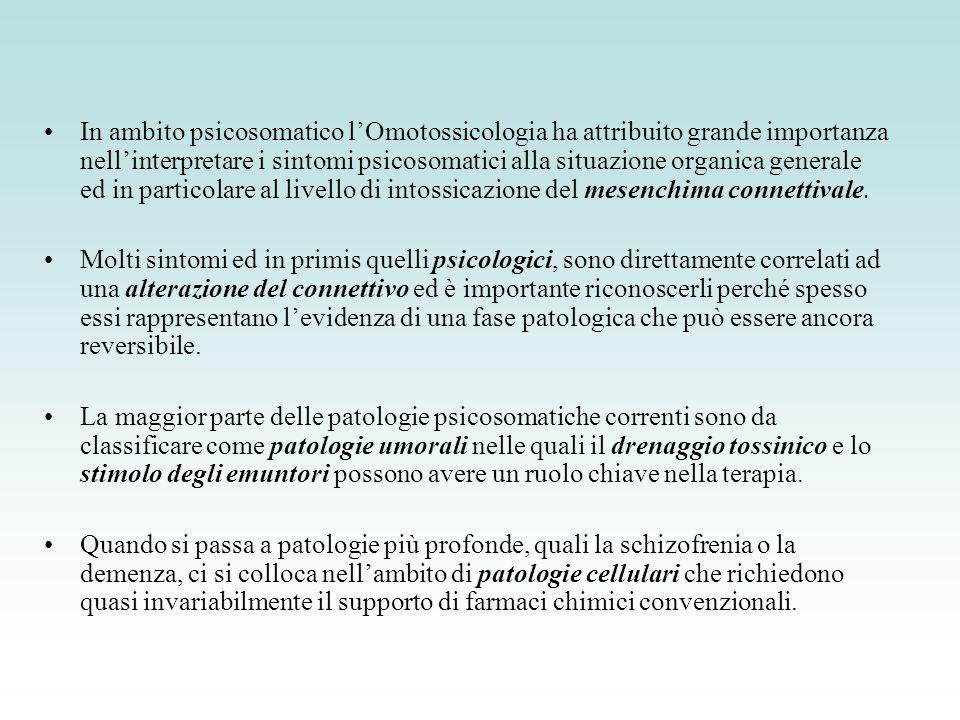 In ambito psicosomatico lOmotossicologia ha attribuito grande importanza nellinterpretare i sintomi psicosomatici alla situazione organica generale ed