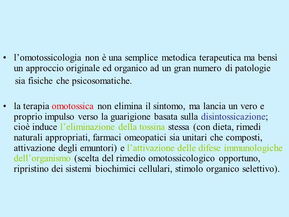 La presenza di queste sostanze all interno dell organismo è in grado di aumentare lo stato di disordine del sistema stesso, e pertanto, è fondamentale la loro eliminazione; quando l organismo non riesce a smaltire le omotossine con l attivazione dei processi infiammatori, per notevole sovraccarico tossico, per insufficienza dei sistemi difensivi e/o perché l uso degli stessi antiinfiammatori blocca la risposta difensiva stessa, è costretto a depositarle, dapprima nel tessuto connettivo e, poi, allinterno delle cellule.